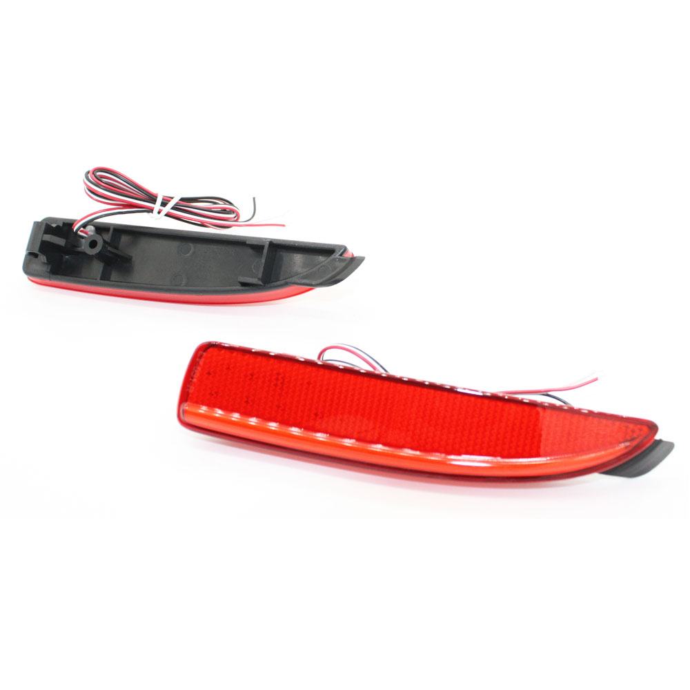 2x LED Red Lens 48LED Rear Bumper Reflector Light Fog Parking Warning Brake light Tail Lamp fit for Mazda3 5 6 ATENZA