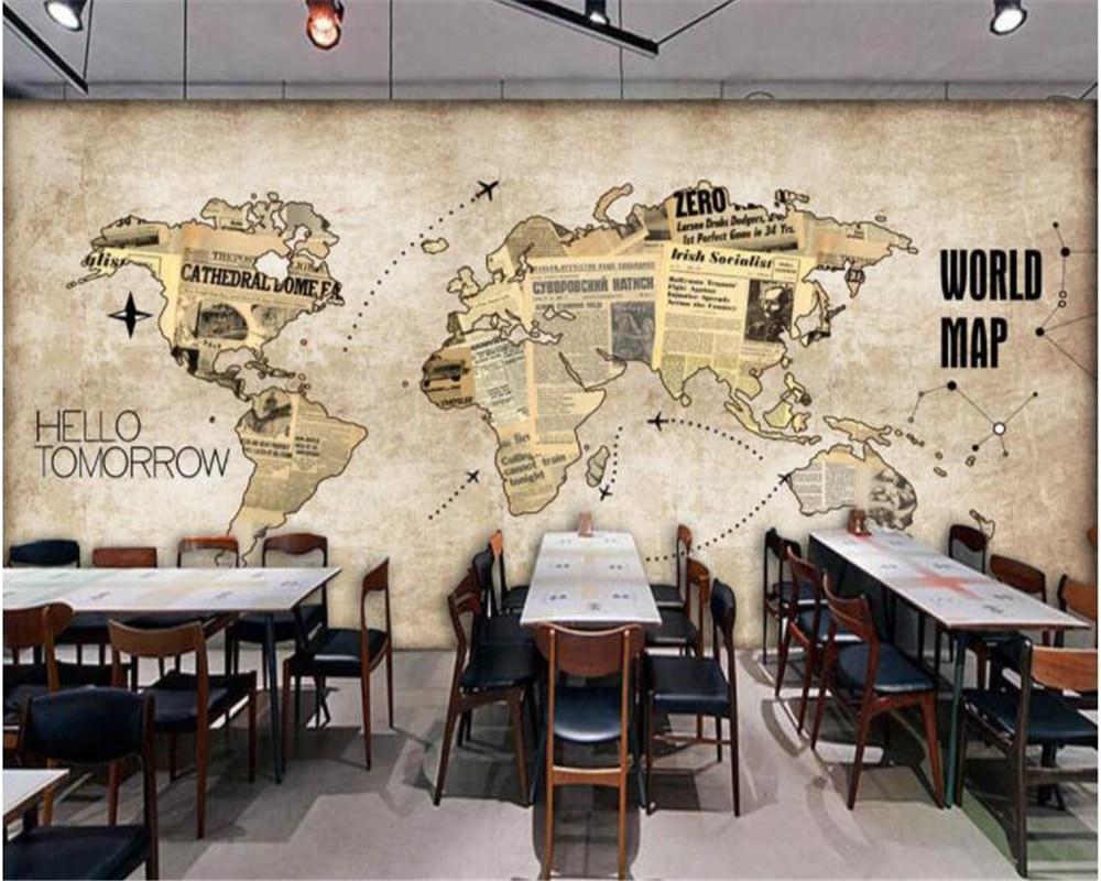 っbeibehang Kustom 3d Wallpaper Retro Peta Dunia Surat Kabar Bar