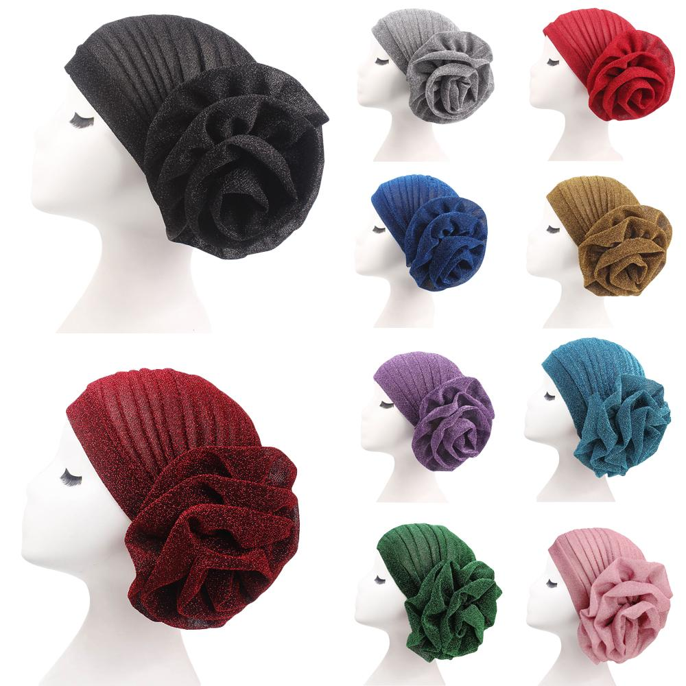 Fashion New Women Glitter Turban Flower Chemo Cap Muslim Headscarf Stretch Hair Loss Hat Beanie Bonnet India Headwear Scarf Wrap