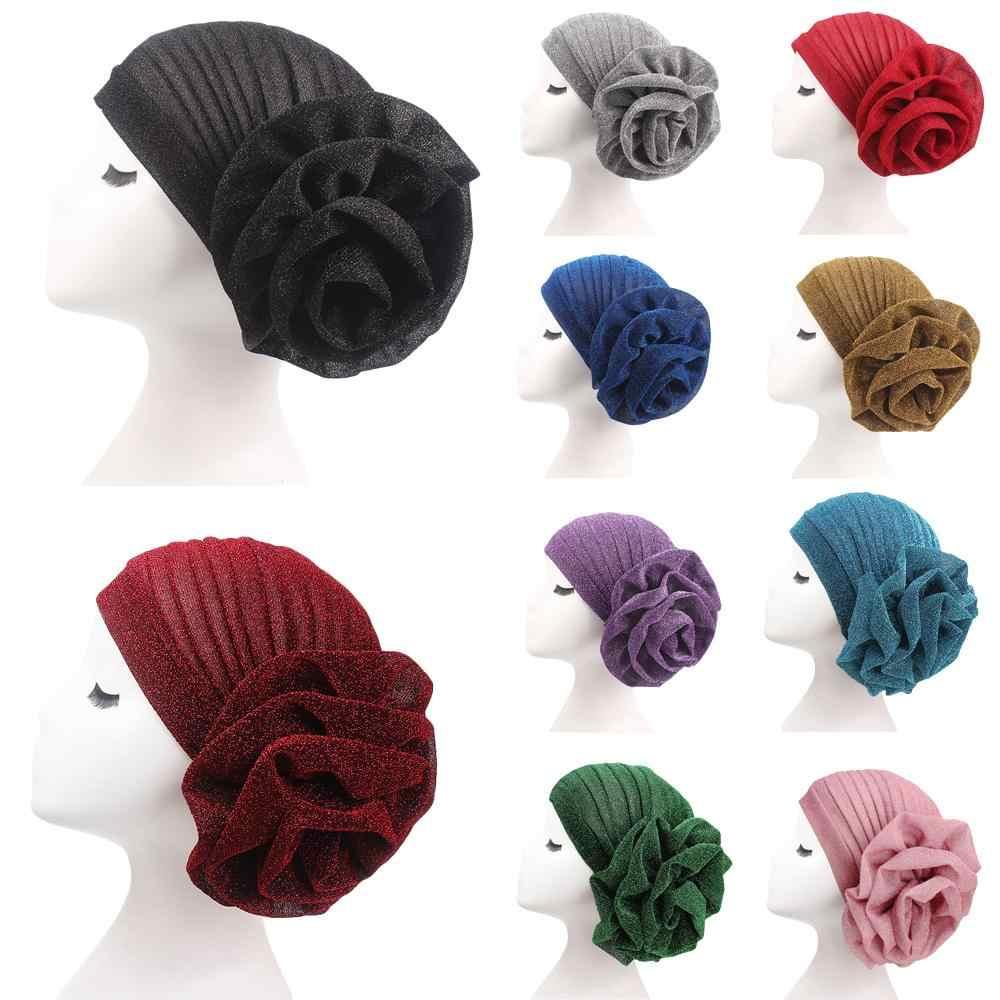 Women Flower Turban Vintage Hijab Hat Muslim Chemo Cap Bonnet Beanie Head Scarf
