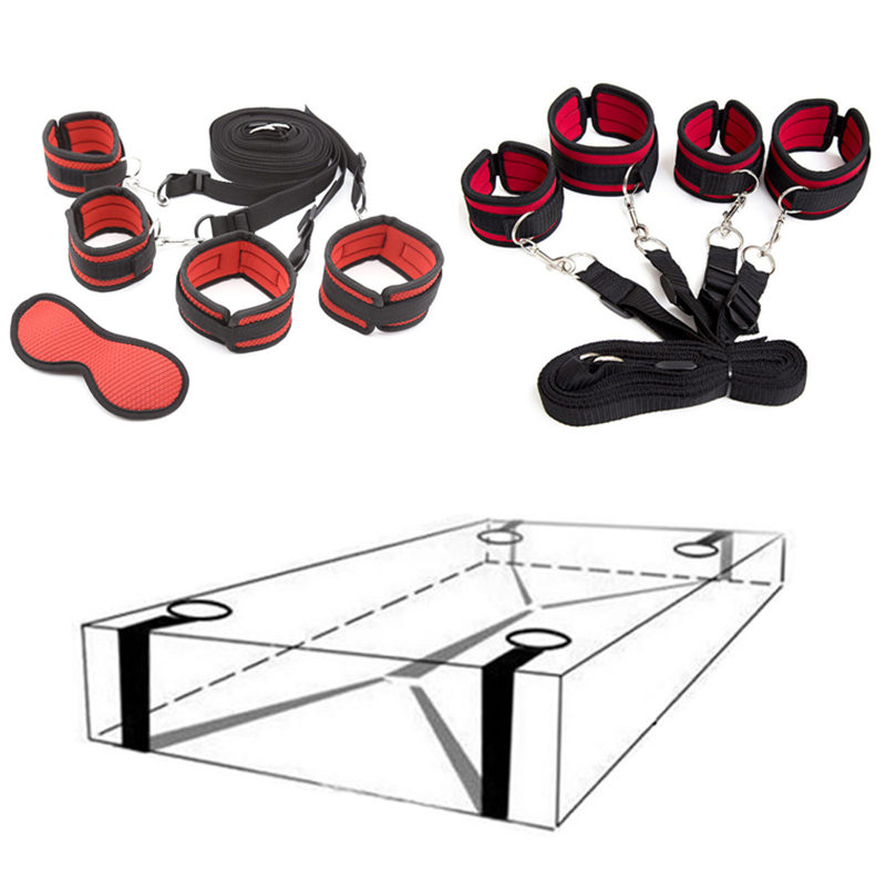 Fetish Slave Erotic Toys For Adults Woman Nylon Handcuffs Ankle Cuffs Under Bed Restraint System Games BDSM Bondage Sex Products