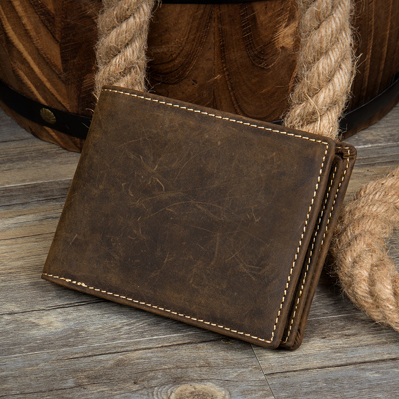 Crazy Horse Leather Men Wallet Brand Cowhide Genuine Leather Zipper Coin Purse Designer Card Holder Bifold Carteira Masculina high quality men genuine leather organizer wallet vintage cowhide clasp card holder coin purse vintage carteira masculina 1011