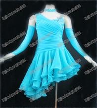 Twinkle bule New Fashion dress,Competition latin dance dress,Performance dance costume,Salsa dance dress,Sexy dance skirt L-0051