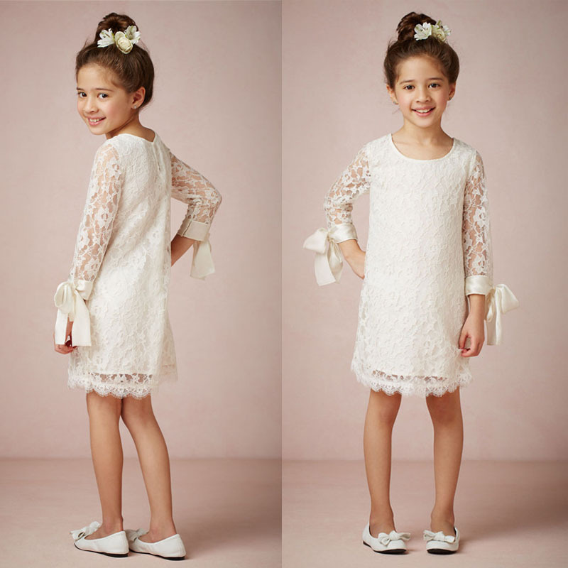 Cheap column off white lace princess flower girl dresses knee length cheap column off white lace princess flower girl dresses knee length long sleeve 2015 latest in flower girl dresses from weddings events on aliexpress mightylinksfo