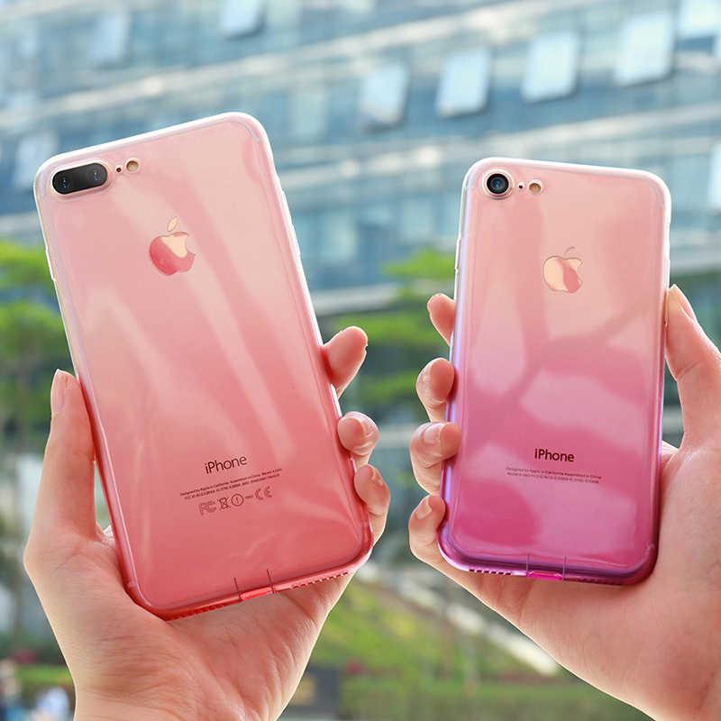 الملونة تغيير التدرج اللون لينة TPU الهاتف خزائن هاتف آيفون 6 6s 7 8 زائد XS ماكس XR X 10 سيليكون المطاط واضح غطاء fundas