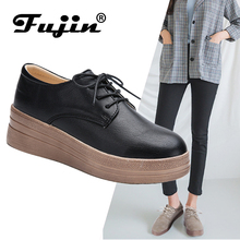 Fujin Brand  2019 Casual Shoes Female Wedge Spring New Women Single British Wind Retro Students Wild Thick Bottom