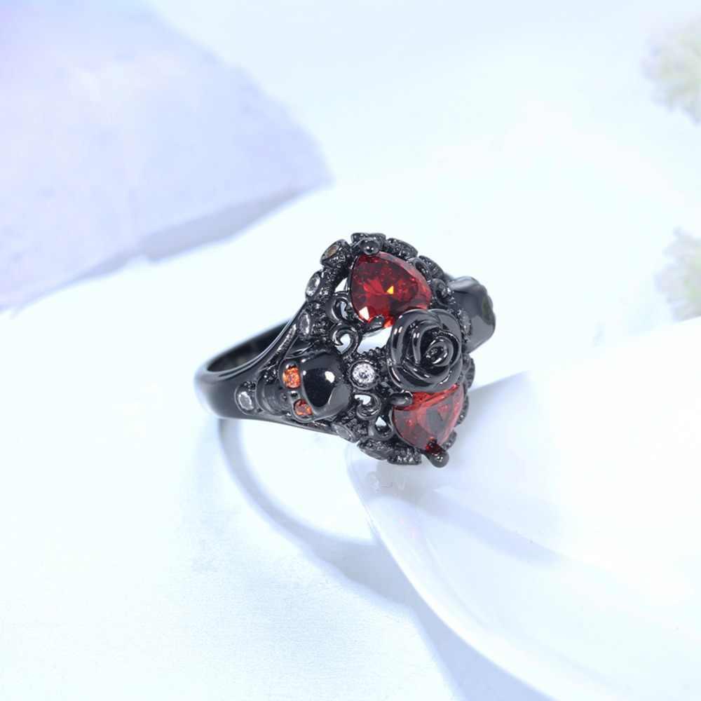 ERLUER แหวนแฟชั่นผู้หญิง Charm Black Skull แหวนงานแต่งงานเครื่องประดับ Casual Party หมั้นแหวนมิตรภาพของขวัญวาเลนไทน์