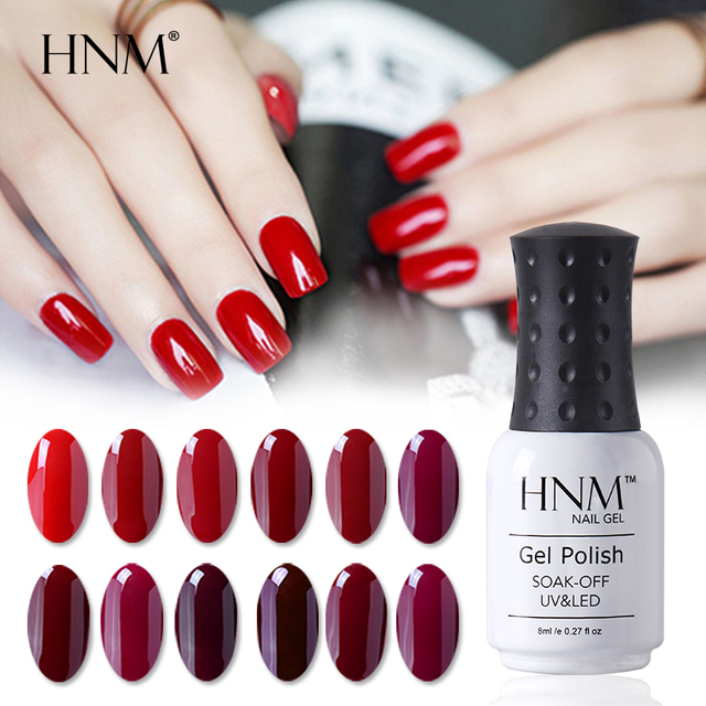 Hnm 8ml Wine Red Color Nail Polish Nail Art Lucky Varnish Semi
