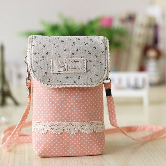 Cotton lace polka dot women's coin purse change wallet ladies small phone pouch bag carteira bolsa feminina bolso for girls