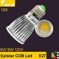 New 10PCS 6W 9W 12W COB E27 Spot light LED Bulb Lamp Cool/Warm White 85V-265V