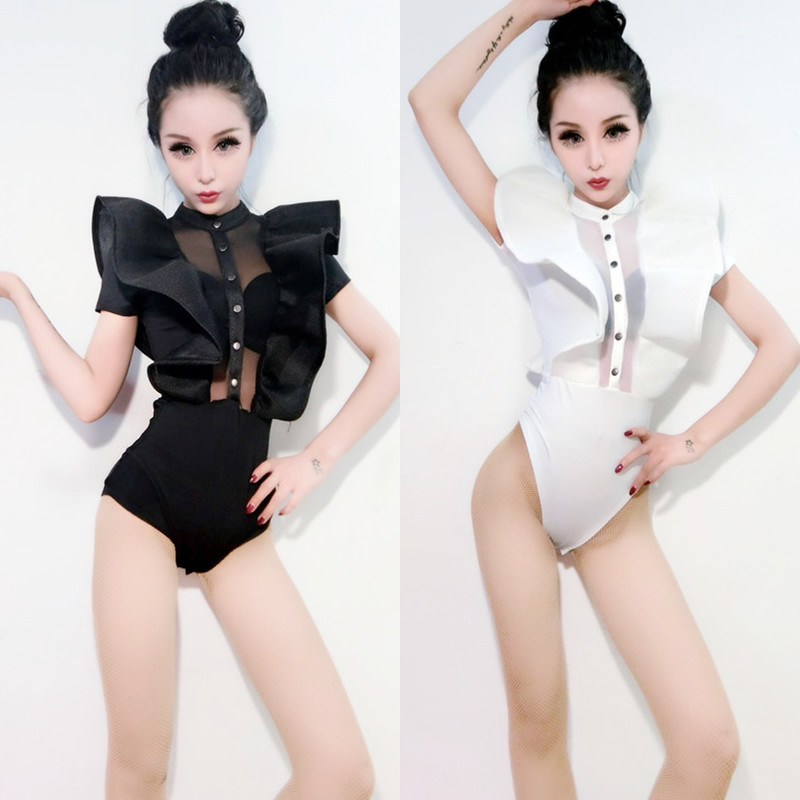 2018 White Jazz Dance Costumes For Lady Women Bar Dj Dancers Stage Hip hop Clothing Sexy Show Female Dance Singer Bodysuit I314-in Chinese Folk Dance from Novelty & Special Use    1