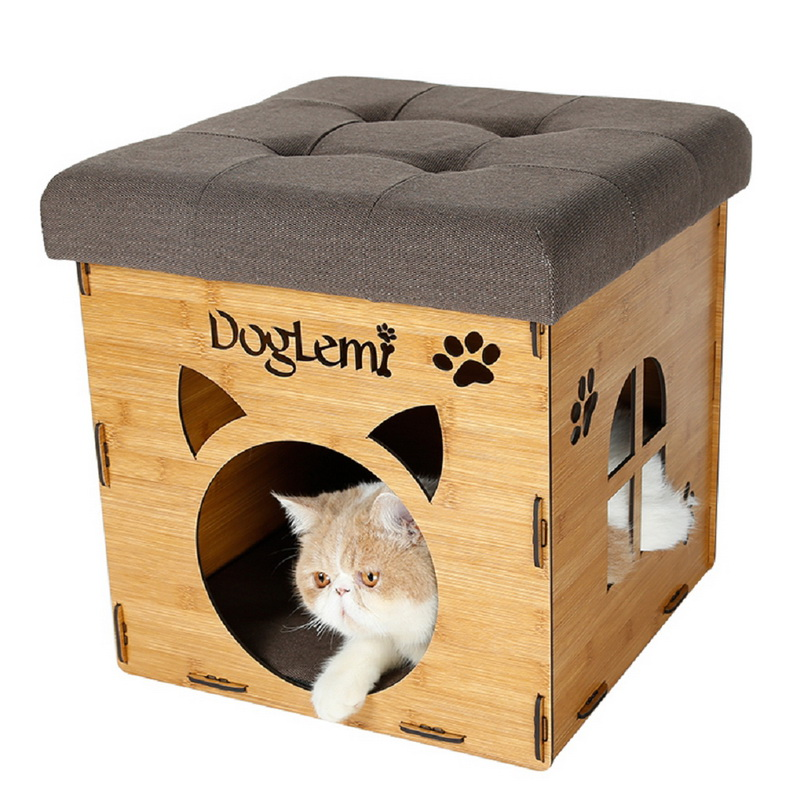 The High End Wood Pet Cave Pet Products New Design Functional Nature Wooden Pet Cat House Cave
