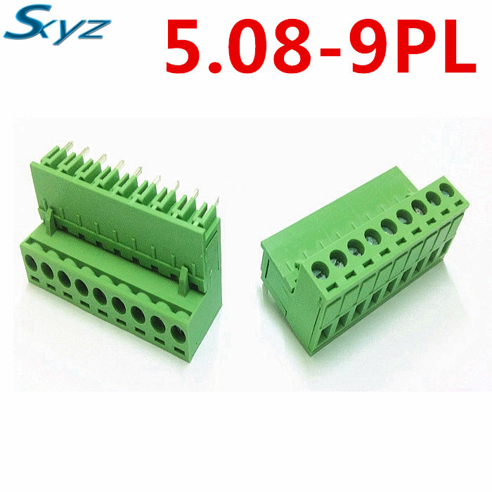10sets 9Pin PCB Electrical 5.08mm Pitch Plug-in Type Right Angle pin Green connector screw terminal block Pin header and socket