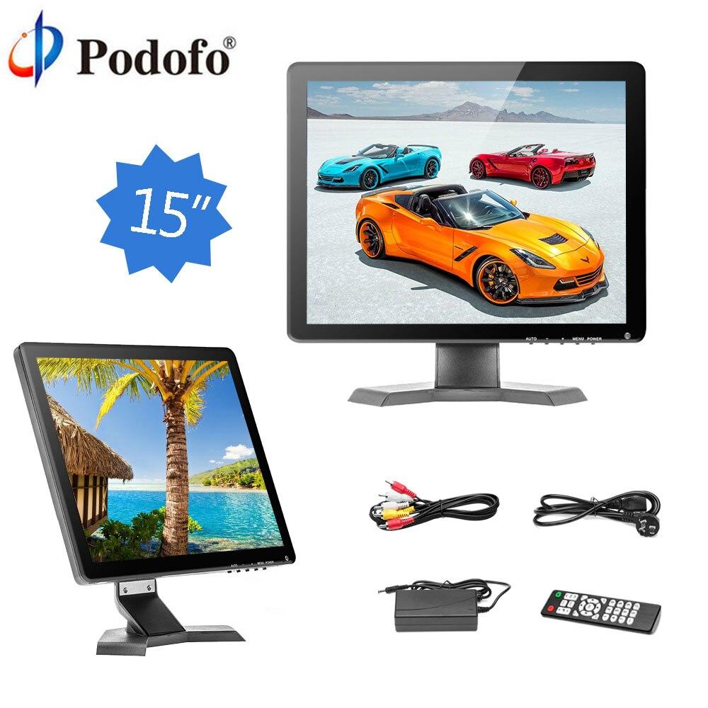 Podofo монитор автомобиля 15 HD ЖК дисплей Дисплей монитор заднего вида Камера 1080 P мини ТВ и компьютер с Динамик/ BNC/AV/VGA/HDMI/USB/Remote