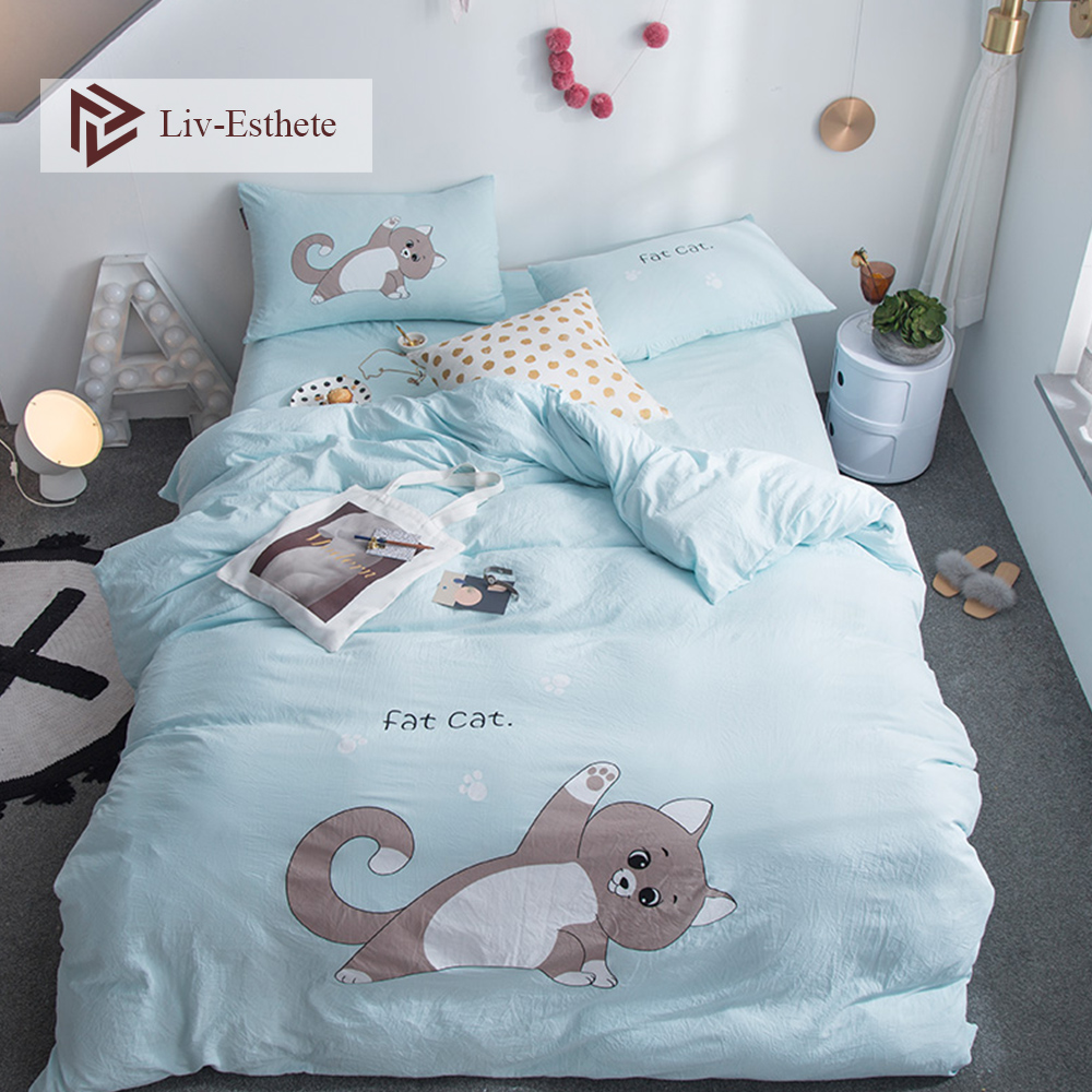 Liv-Esthete Hot Sale Cute Cat Cartoon Bedding Set Blue Duvet Cover Flat Sheet Pillowcase Double Queen King Bed Linen Wholesale