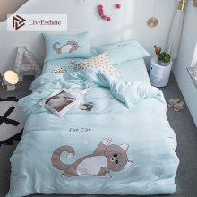 Liv-Esthete Hot Sale Cute Cat Cartoon Bedding Set Blue Duvet Cover Flat Sheet Pillowcase Double Queen King Bed Linen Wholesale