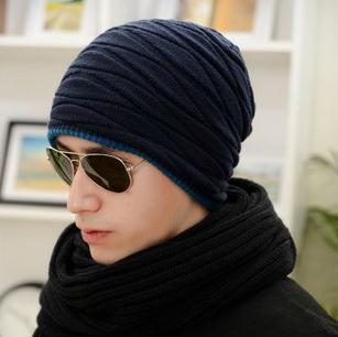 Hombre del sombrero de otoño invierno de lana de punto cap sombrero de la edición de han de moda de invierno al aire libre sombrero caliente casquillo de la cabeza ocasional clásico