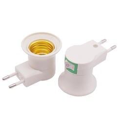 20 шт. основание светильника E27 светодиодный свет штекер к ЕС Тип переходник конвертер для лампы держатель лампы с кнопка