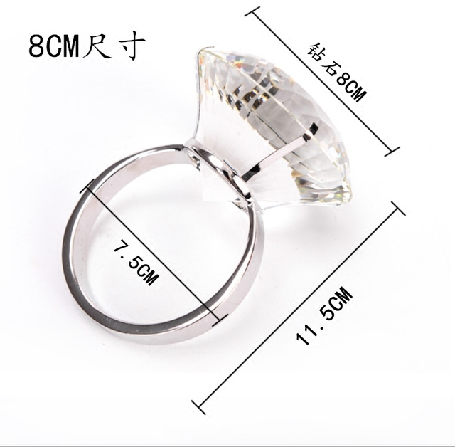 Big Diamond Wedding Ring Proposal Engagement Valentine's Day Birthday Prank Ring