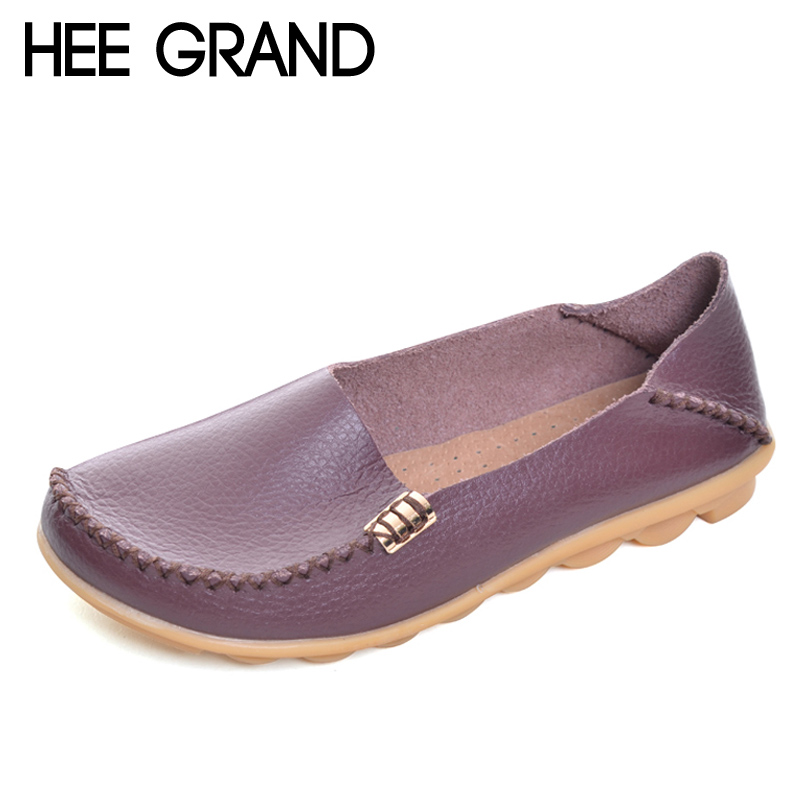 HEE GRAND Women Shoes Split Leather Summer Platform Shoes Woman Slip On Loafers Ballet Flats 16 Colors Size Plus 35-44 XWD4200 hee grand summer gladiator sandals 2017 new platform flip flops flowers flats casual slip on shoes flat woman size 35 41 xwz3651