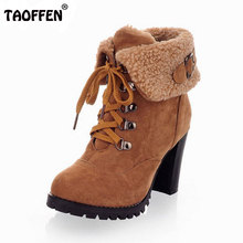 women high heel half short ankle boots winter martin snow botas fashion footwear warm heels boot shoes AH195 size 32-43