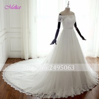 Dreagel Boat Neck Short Sleeve A Line Princess Wedding Dress 2017 Beaded Sashes Appliques Bohemian Wedding