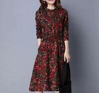 New Fashion Women Dress Vintage Long Sleeve Spring Dress Print Cotton Linen Women Dress Floral Pocket
