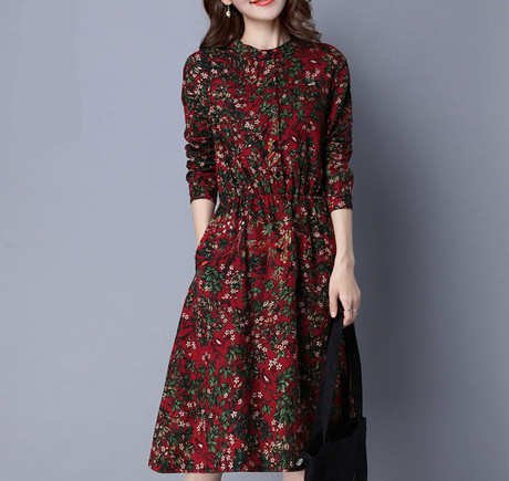 New Fashion Women Dress Vintage Long Sleeve Spring Dress Print Cotton Linen Women Dress Floral Pocket Vestidos Plus Size M-4XL