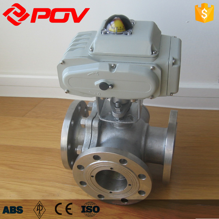 Banjo Electric 3 Way Directional Ball Valve: 3 Way Flanged On-off 24vac Electric Ball Valve