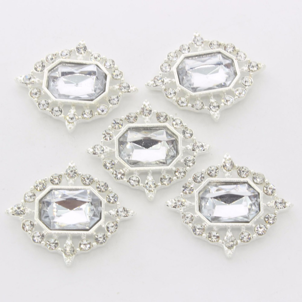New Arrival Gold Silver Colors Dome Crystal Claw Acrylic 26x32mm White ABS Half Round Acrylic Rhinestone Buttons For DIY