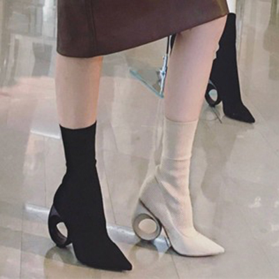 Runway Style Black Beige Hollow Out Strange Heel Ankle Boots Pointed Toe Slip On Women Knitted Stretch Sock Botas Ladies Shoes