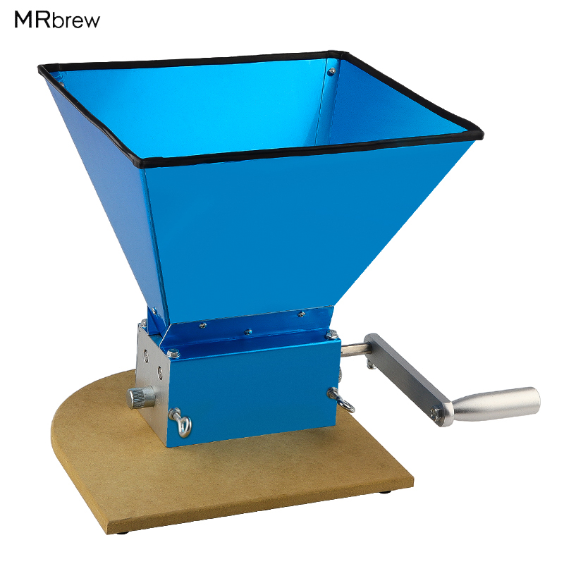 Stainless Steel 3 Rollers Barley Malt Mill Crusher Grain Mill Portable Grinder with Wooden Base Home