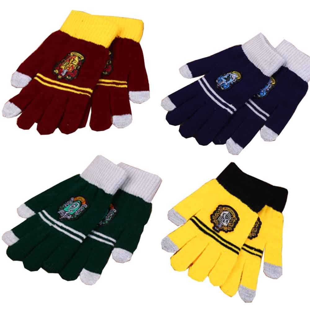 College Potter gloves keep warm Gryffindor Series With Badge Personality Cosplay accessary kids adults