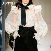 [LIVIVIO] Lace Floral Polka Dot Ruffled Long Lantern Sleeve Stand Neck Sheer Blouse Women Shirt Vintage 2019 Autumn New Fashion