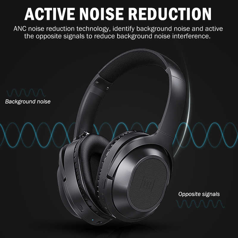 76cf6cbc19a ... Langsdom BT25 Active Noise Cancelling Headphones Wireless Bluetooth  Headset With Microphone for Phones ANC With Carrying ...