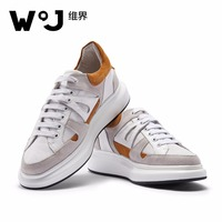 W.J Genuine Cow Grain Leather Spring Summer Lace Up Casual Breathable Soft Thick Sole Elevator Splice Sneakers