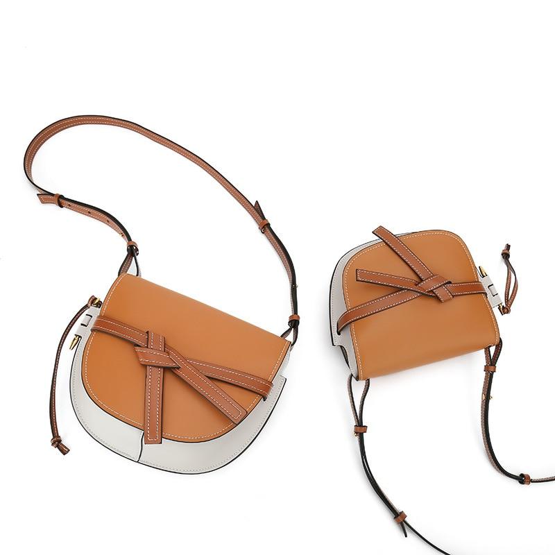fashion bow saddle round bag Genuine Leather Handbags women luxury designer woman Messenger shoulder Bag ladies hand bags purse