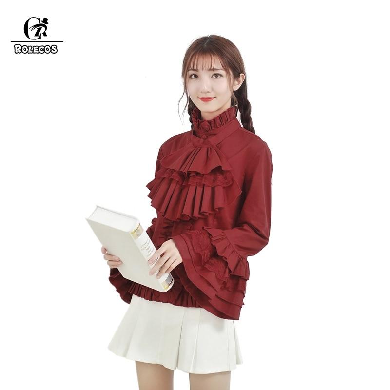 ROLECOS Sweet Lolita Blouse Tops Vintage Renaissance Women Shirt Gothic  Victorian Blouse Plus Size Medieval SK