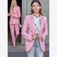 Роза на пуговицах принтом на подкладке розовый тонкий бархатный блейзер Для женщин Пиджаки и жакеты женские пальто милый 90 s одежда