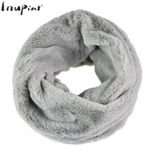 INUPIAT 2017 New Winter Women's Scarf Solid Color Neck Warmer Fake Fur Scarves Top Quality Soft Faux Fur Ring Scarf for Woman цена