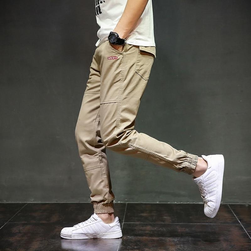 Khaki Color Fashion Mens Jeans Jogger Pants Brand Denim Slim Fit Boot Cut Tied Jeans Men Fashion Streetwear Ankle Banded Pants