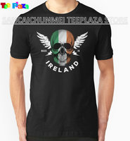 Teeplaza Funny T Shirts For Sale Irish Flag Skull Crew Neck Men Short Sleeve Compression T