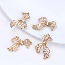 6PCS 22x24MM 24K Champagne Gold Color Plated Brass Bow Charms Pendants High Quality Diy Jewelry Accessories