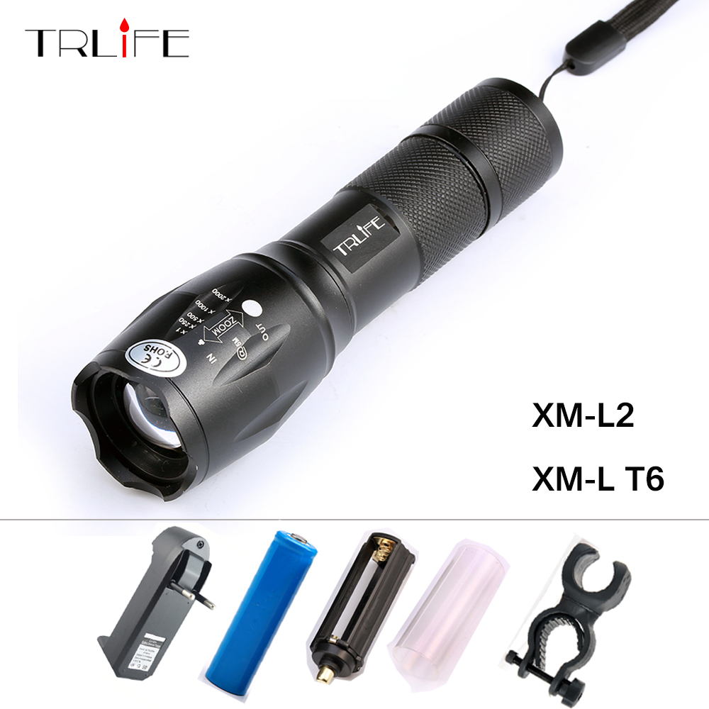 CREE XM-L T6 Bicycle Light 6000Lumens Bike Light 7modes Torch Zoomable LED Flashlight +18650 Battery + Charger + Bicycle Clip hot sale 3x cree xml t6 led headlamp bike light 5000 lumen 18650 led head light 4x18650 battery pack charger bike rear light