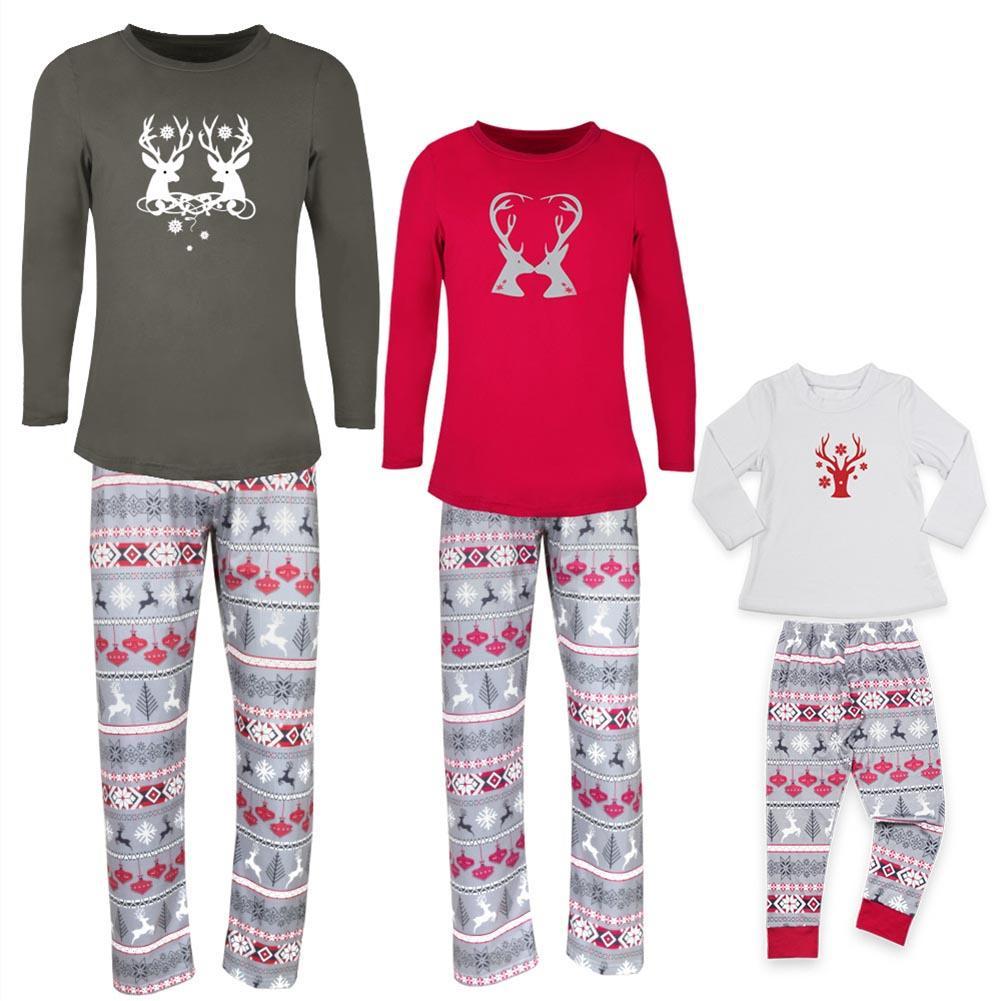 Weihnachten Deer Home Herbst T-shirt Hosen Papa Mama Kinder Pyjamas Set Nachtwäsche Heißer
