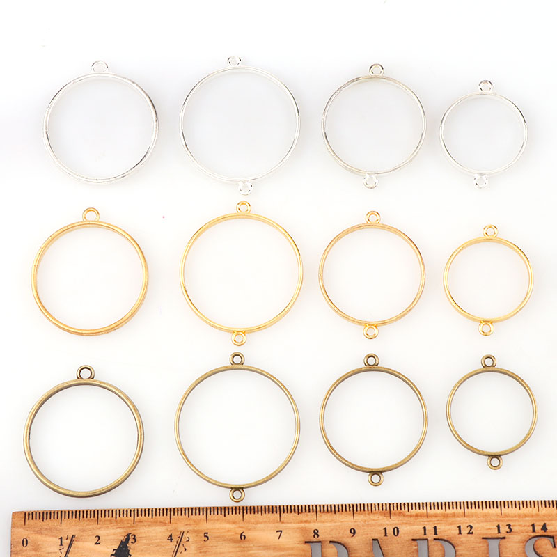 Vintage Round Double&Single-Side Antique Metal Hollow Frame Connector Charms Pendant DIY Jewelry Findings Accessories spoon fork knife slice tableware shape diy alloy charm pendant crown antique silver vintage jewelry making accessories findings
