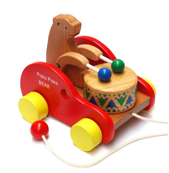 Wooden Toy Poko Poko Bear Drum Beating Car On Wheels for Kids and Children Christmas gift