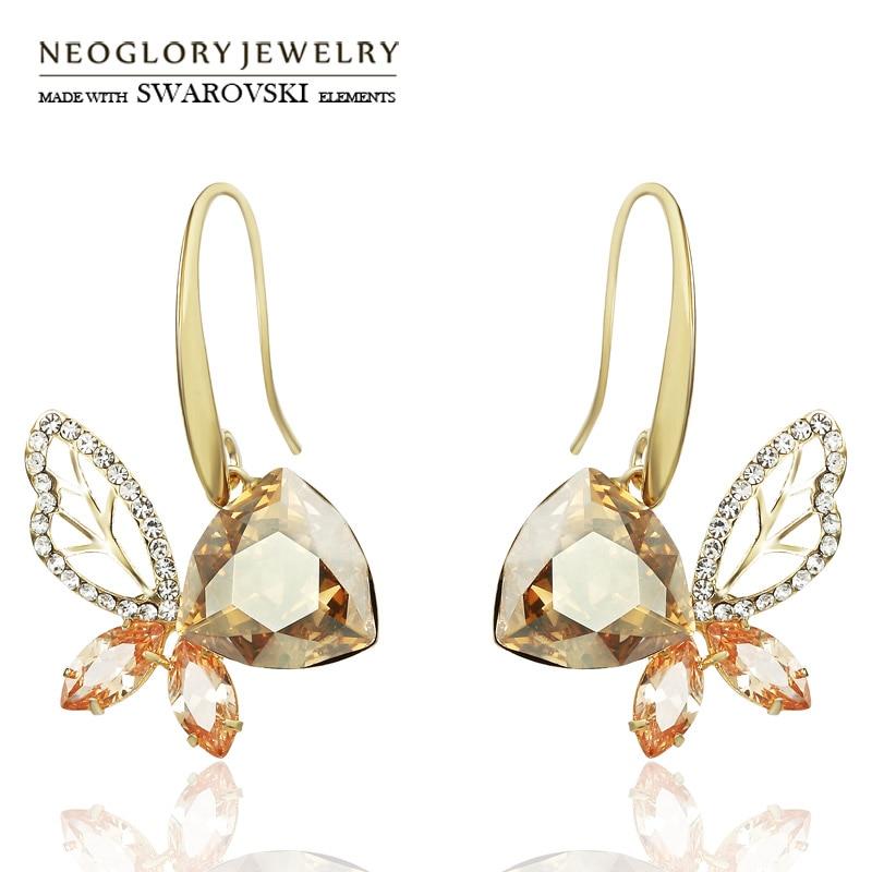 Neoglory Austria Crystal   Rhinestone   Zircon Long Drop Earrings Light  Yellow Gold Color Champagne Elegant a057b7bef432