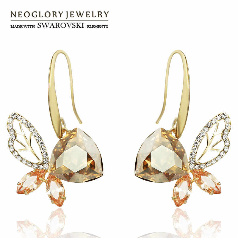 Neoglory Austria Crystal & Rhinestone & Zircon Long Drop Earrings Light Yellow Gold Color Champagne Elegant Butterfly Design