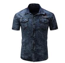 Black/Dark Blue Mens Large Size Short Sleeved Cotton Denim Shirts Military Cargo Shirts Camisas Hombre Loose Male Shirt J2654(China)